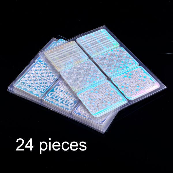 144 Consigli / Set Stencil Griglia irregolare Design creativo per unghie quadrato Modello quadrato vuoto Adesivi per unghie