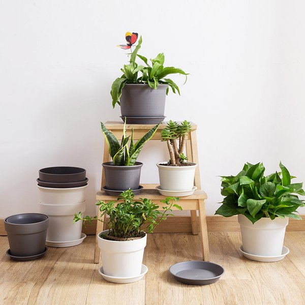 Plastic Potted Plant Flowerpot With Tray Creative Balcony Indoor Bonsai Round Planting Small Pot With Thick Leaf