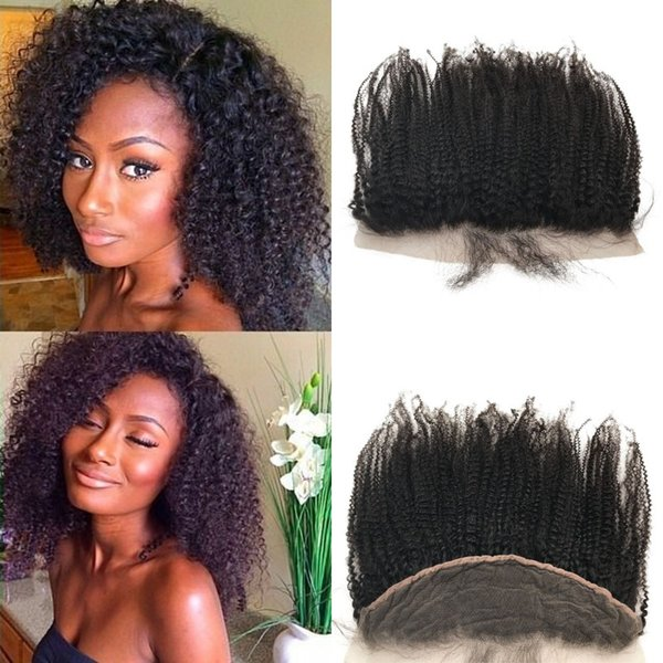 Peruvian Curly Lace Frontal Closure 13x4 Middle Free 3 Way Part Lace Frontal Afro Kinky Non-remy Human Hair FDshine