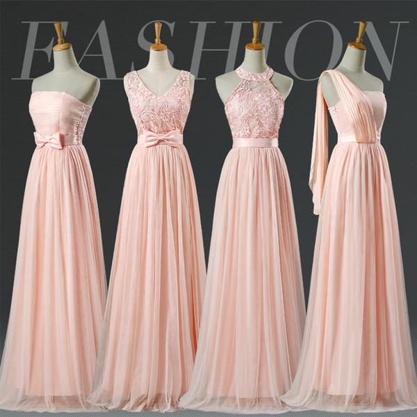 Promotion Blush Halter Bridesmaid Dress Lace Pale Pink Bridesmaid Dresses Prom party graduation formal dress SW001