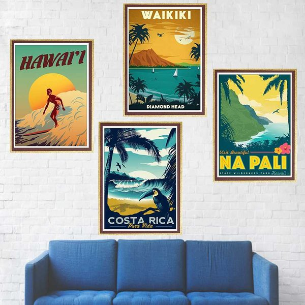 Aloha Hawaii /famous tourist /Landscape painting/kraft paper/bar poster/Retro Poster/decorative painting