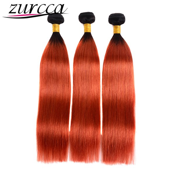 Zurcca Pre-colored Brazilian Ombre Human Hair Weave 3 Bundles Straight Hair 1b350 Ombre Bundles Two Tone