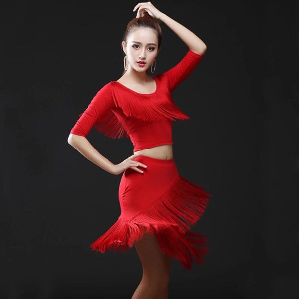 New ballroom dance top+Tassel skirt suit performance Latin Dance Dress Professional Sumba Dancing Stage tango Cha Cha costumes
