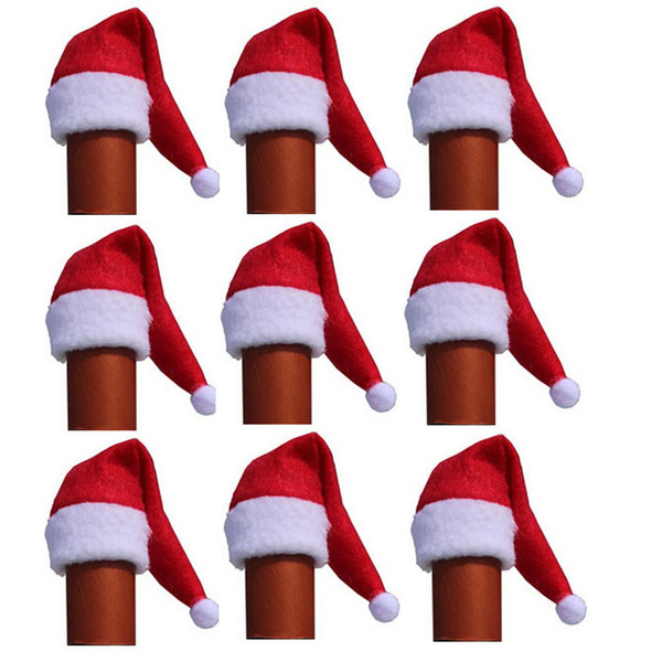 100pcs / lot noël Mini petit 12x6cm De Noël Bouteille De Bonnet Rouge Couvre Les Chapeaux De Santa Chapeaux Bouteilles De Couvre-Chapeau Décorations pour la maison 20% de rabais