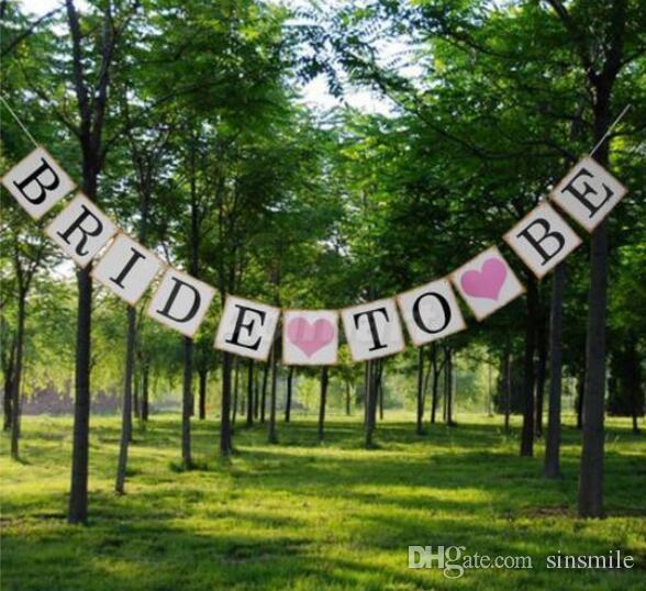 Wholesale-3M Bride To Be Paper Banner Garlands Wedding Decoration Hen Party Bunting Bridal Shower Photo Booth Props Events Supplies
