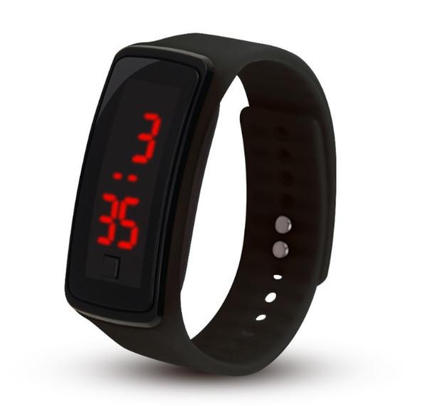 Il rettangolo di sport 2018 ha condotto i braccialetti del silicone della cinghia di gomma degli orologi del touch screen dell'esposizione digitale Orologi da polso