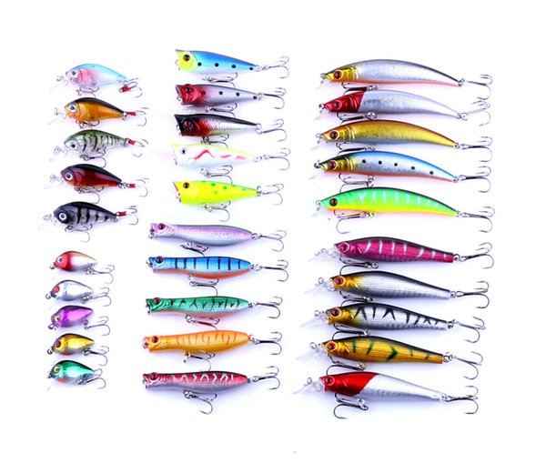 Bionic Fish Lures Set Sea River Fishing Lure Hard Baits 3D Eyes Artificial Tackle Accessories 6# 8# 10# hook 6 types 30 Pcs