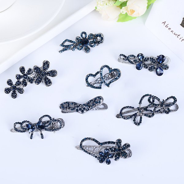 Vintage Blue Rhinestone Hair Pins Women Flower Heart Side Clips Black Alloy Hollow Bowknot Barrettes Fashion Jewelry Accessories Wholesale