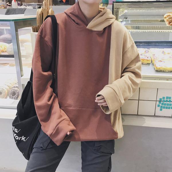 2018 neue Herrenmode Trend Baumwolle Hoodies lose beiläufige lange Hülsen Pullover Bule Brown Sweatshirts Hip Hop Style Mäntel M-XL