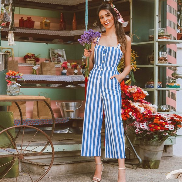 Blue New Autumn Stripe Daily Fashion Sling Top Wide Leg Jumpsuit Women Elegant Sexy Casual Jumpsuit Long Pants Overalls