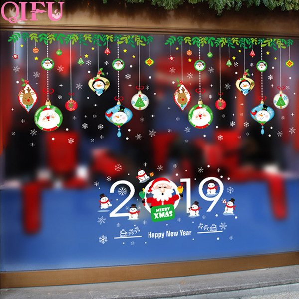 Compre Qifu Decoración Navidad Etiqueta De La Pared Decoraciones De Navidad  Para El Hogar Navidad Etiqueta De La Ventana De Navidad De Cristal
