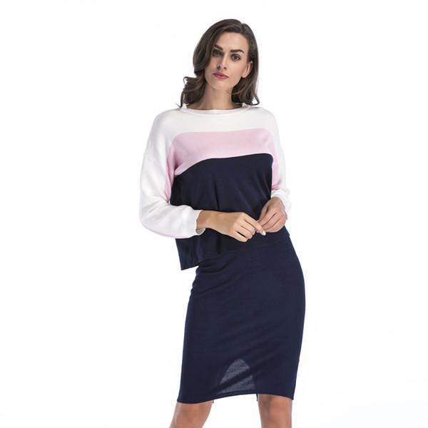 Winter 2 Stück Pullover Kleid Set Frauen Langarm Büro Tragen Lässige Grey Pullover Strick Kleider Kleidung Anzug BM0129