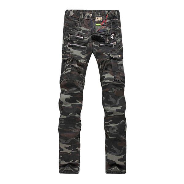 jantour Brands Mens Camo Biker Jeans  Style Cargo Tactical Motorcycle Denim Trousers Man zipper Pants With Multi Pockets