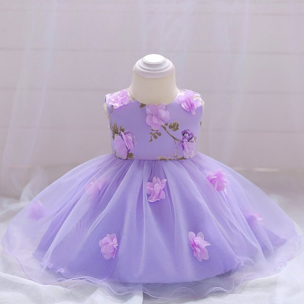 ABGMEDR Brand 0-24 Months Little Girls Clothes Newborn Baby Girls Dress Baby Clothing Lovely Flower Lace Dress