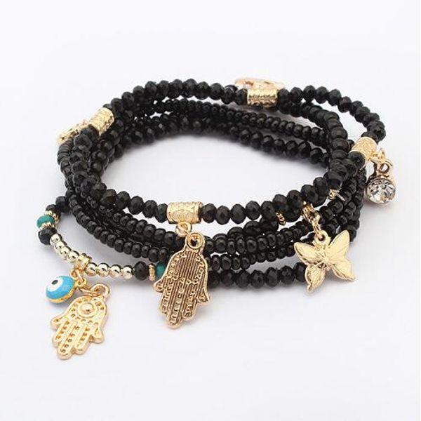 LEMOER 2017 Lucky Kabbalah Fatima Hamsa Hand Blue Evil Eye Butterfly Charm Bracelets & Bangles Multilayer Beads Turkish Pulseras