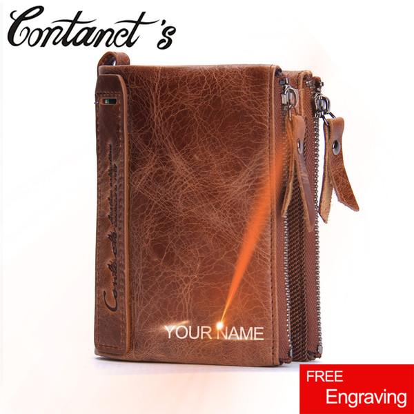 Бумажник мужчины старинные бренд Crazy Horse кожаный мужской бумажник двойной молнии дизайнер мужской портмоне большой емкости мешок денег для человека