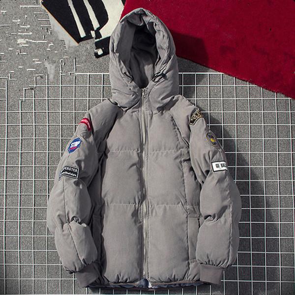 Kış Ceket Mens Moda Sıcak Ceket Pamuk-Yastıklı Dış Giyim Erkek Mont Ceketler Kapşonlu Yaka Ince Giysiler Kalın Parkas M-5XL