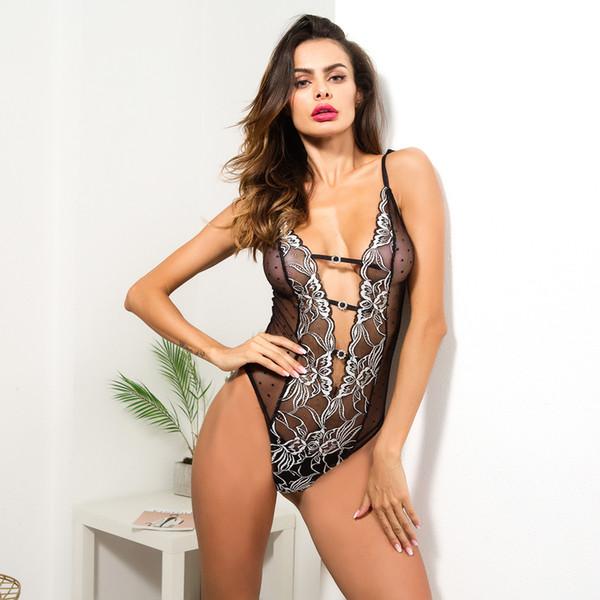 Sexy Bodysuit Women Sleeveless Deep V-Neck Fit Body Women 2018 Black Mesh Floral Embroidery Diamond Jumpsuit Transparent