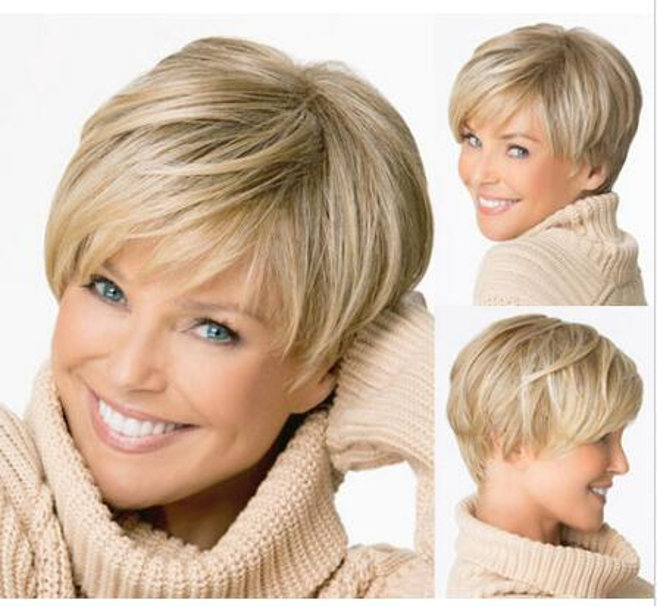Женщина короткие темные блондинки мода полный парик косплей ну вечеринку парик волос