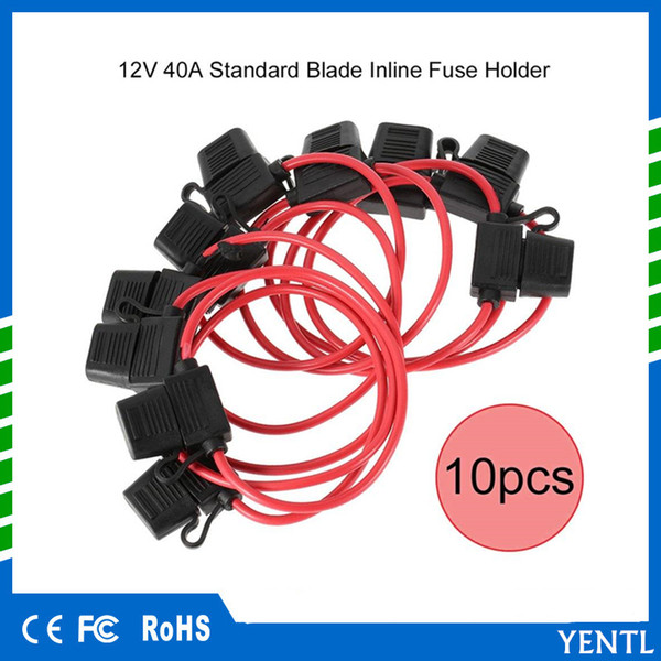 free shipping 10pc 12v 40a standard blade inline fuse holder with  waterproof dustproof cover professioanl 12v splash