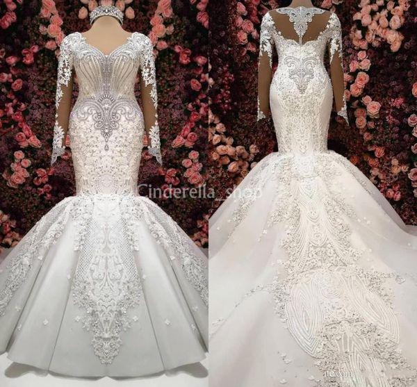 Neueste Luxus Meerjungfrau Brautkleider 2019 Lange Ärmel Kristall Perlen Appliques Gericht Zug Arabische Brautkleider Vestidos Plus Size Custom
