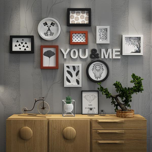 إطارات الصور لصور الجدار إطارات للصور الإطار الأسرة المنزل أسود أبيض جولة مستطيل إطار الصورة مجموعة معلقة ديكور الحائط دراسة