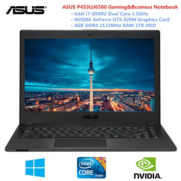 ASUS P453UJ6500 14 Inch Laptop Windows 10 Intel Core I7-6500U Dual Core 2.5GHz 4GB RAM 1TB HDD PC With Fingerprint HDMI Camera