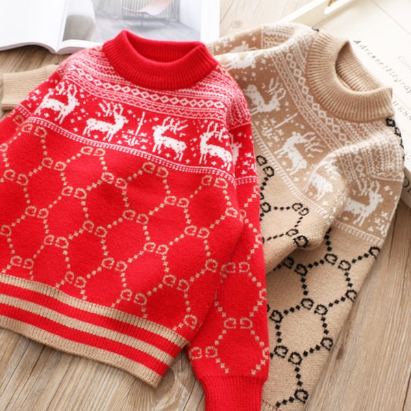 Chirstmas Reindeer Knitted Sweater Girls Letter Pattern Round Collar