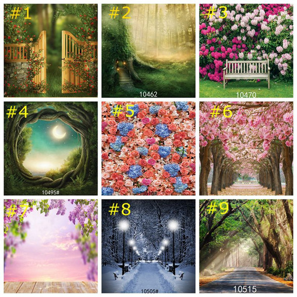Flower Tree Road Summer Blue Ocean Backdrops Photography Cloth Vinyl Photo Backgrounds Romantic Love Wedding Party Decor Wallpapers 85*125cm