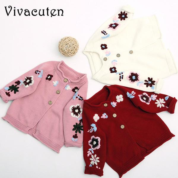 Осень девочки свитер дети ручной трикотажные свитера вязаные вышивка цветок свитер дети пальто толстые одежда