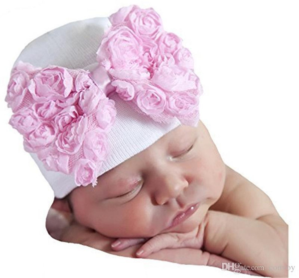 Baby Crochet Bow Hats Cute Baby Girl Soft Knitting Hedging Caps with Big Bows Autumn Winter Warm Tire Cotton Cap For Newborn BH120