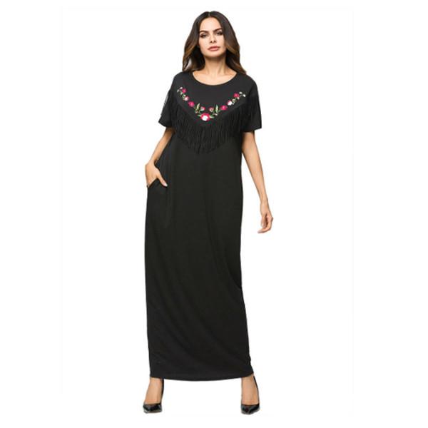 Big Size manica corta nappa floreale Malesia musulmana elegante Abaya Robe lunghe donne vestono turco Jilbab Kaftan Ankle Dress