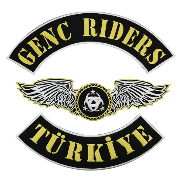 GENC RIDERS TURKIYE Motorcycle club Patch MC Embroidered Full Back Large Pattern For Rocker Biker Vest Patches for clothing Free Shipping