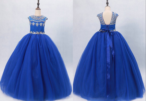 baratas para la venta envío directo auténtico Compre Real Photo Royal Blue Ball Girl Girl Desfile De Vestidos Para Fiesta  De Graduación Formal Kids Girls Dress Sheer Neck Brillante Pedrería De ...