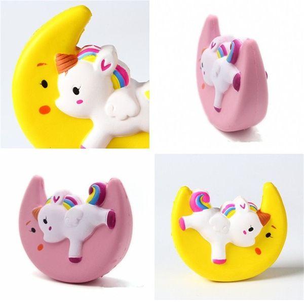 PU Slow rebound UNICORN MOON children toy Icecream Flash Powder Kawaii Phone Pendant decompression toy T3I0050