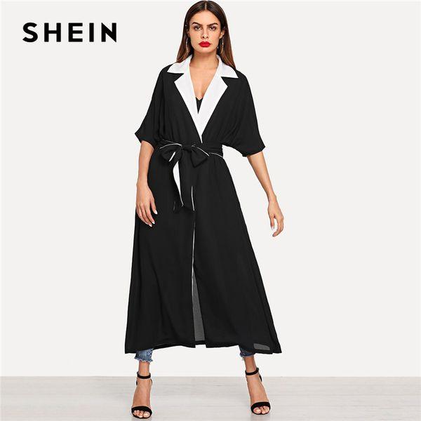 SHEIN Black Contrast Notch Collar Belted Abaya Elegant Long Sleeve Minimalist Clothes Women Autumn Modern Lady Trench Coats