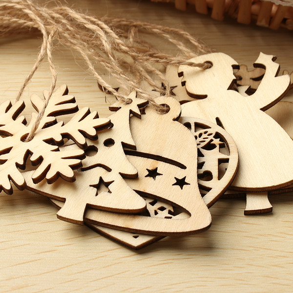 10PCS/Pack DIY Christmas Snowflakes Deer Tree Pattern Wooden Pendants Ornaments Christmas Party Decorations Xmas Tree Ornaments