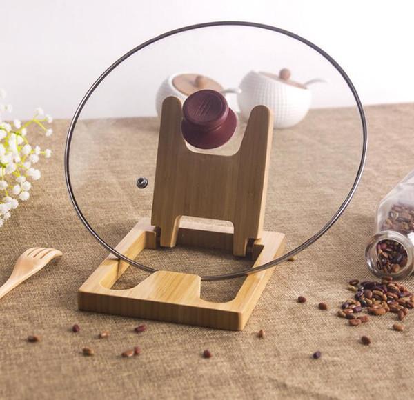 Kreative Bambuspfanne Topfhalter Multifunktions faltbare Abdeckung Deckelhalter Holzregal Deckelhalter Küchenaccessoires