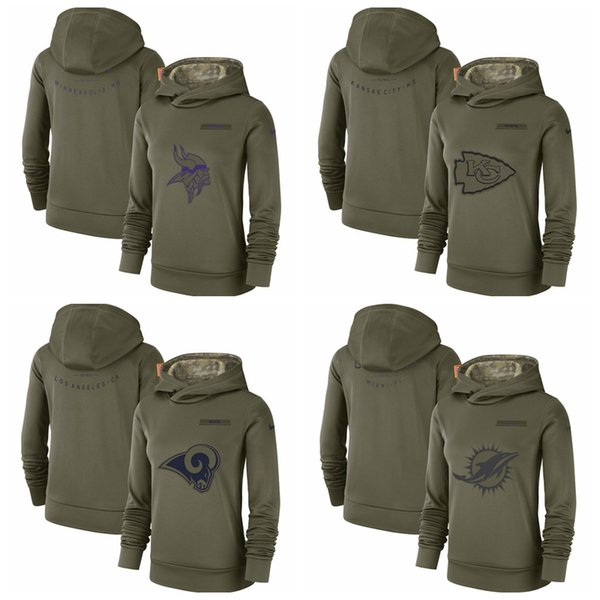 497a49f6 2019 Kansas City Chiefs Los Angeles Rams Miami Dolphins Minnesota Vikings  Women'S Salute To Service Team Logo Performance Pullover Hoodie From ...