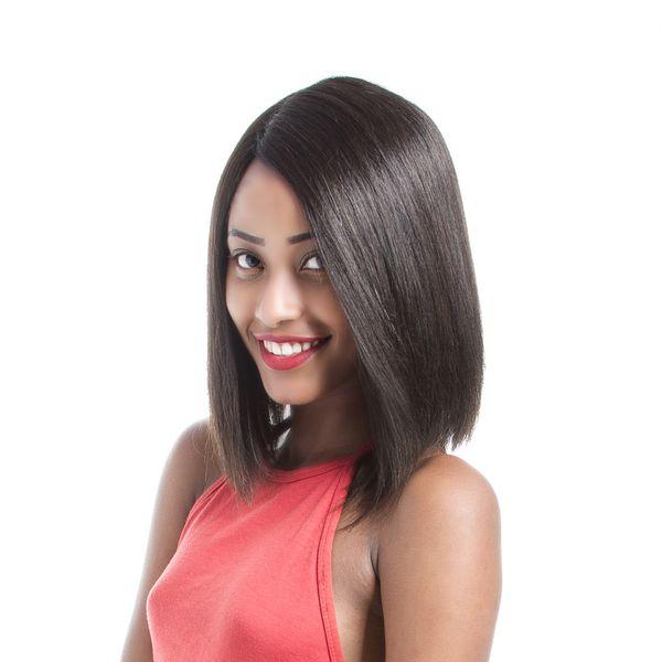 Short Bob Wigs Straight Hair Natural Color Brazilian Virgin Hair Lace Front Human Hair Wigs Bob For Black Women 12Inch