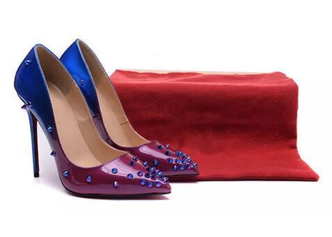 Violet et Bleu Tapered Loose avec Spikes Bas Rouge Talons Hauts Chaussures Femmes 12cm Talon Haut Dames Femmes Chaussures Bas Chaussures Pompes