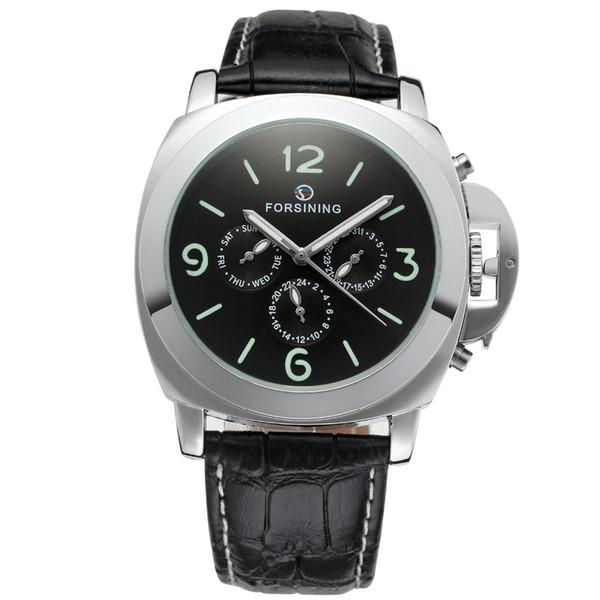 FORSINING Leather Band Men Watches Big Case Fashion Casual Clock Men Mechanical Wristwatch Luminous Dial Relogio Masculino L18100705
