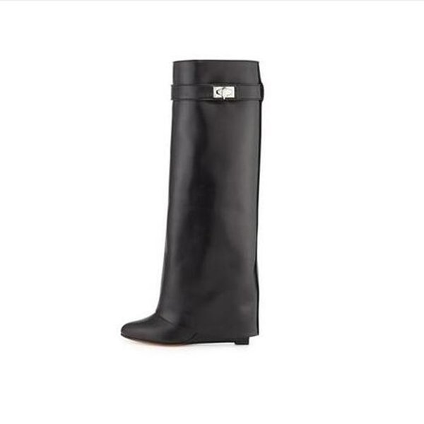 Sexy Shark Lock Wedge Knee-high Boots Turned-over Strap Winter Long Boots Woman Black Leather Wedge Boots Big Size 10 Free Ship