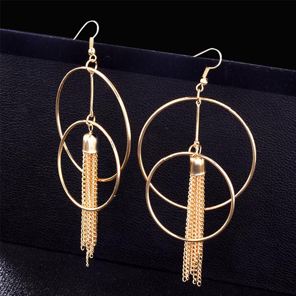 Double Round Long Chain Tassel Earrings for Women Punk Big Statement Earrings 2018 Engagement Wedding Party Jewelry Gold Color