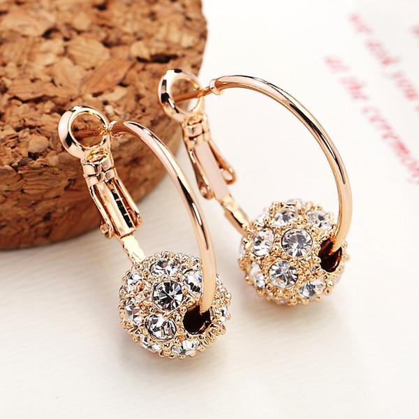 Moda Avusturyalı Crystal Ball Altın / Gümüş Küpe Yüksek Kalite Küpe Kadın Parti Düğün Takı Buklet D 'Oreille Femme