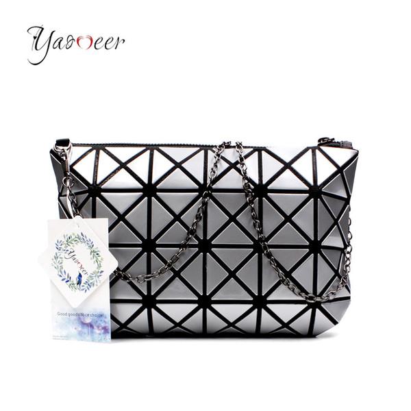 Yaomeer Geometric Messenger Bag Diamond Lattice Fold Over Clutch Bags Famous BaoBao Chain Shoulder Bag Wristlet Laser Clutch 006
