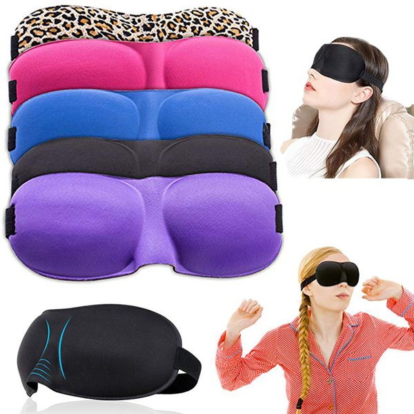 top popular Comfortable 3D Sleep Mask 12 colors Contoured Ultralight Sleeping Mask Cover Shade Eye Patch Blindfold Travel Eyepatch No Pressure Eyeshade 2019