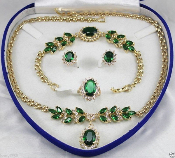 Beautiful! Jewellery Women's Set Green Crystal Necklace Earring Ring Bracelet+box