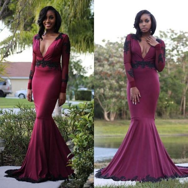 Sexy cuello en V profundo Borgoña vestidos de fiesta sirena con mangas largas de encaje con lentejuelas cuentas espalda abierta gasa vestido de noche de vino rojo África vestidos