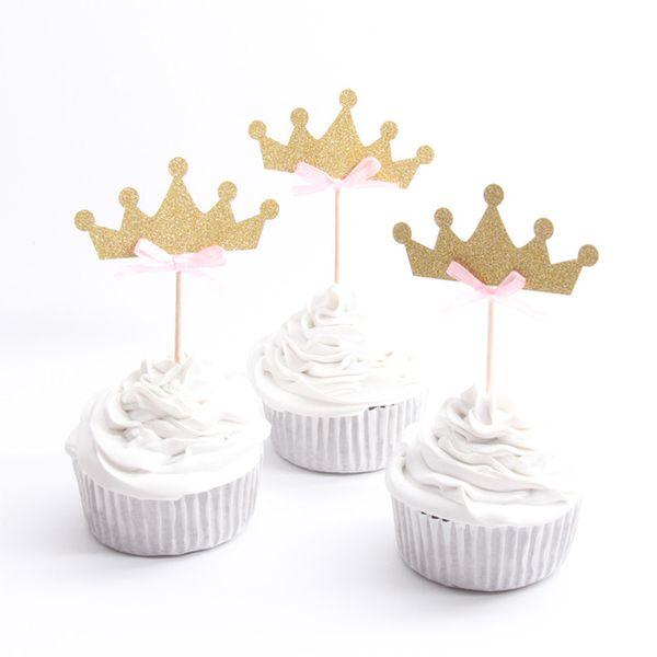 20 teile / los Rosa Prinzessin Crown Cupcake Toppers Kuchen Partei Liefert Geburtstag Hochzeit Dekoration